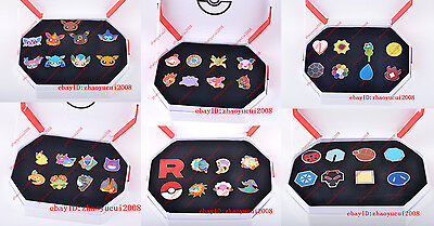 Pokemon: Kanto Gym Badges Set of 8 Metal Pins Pikachu Eevee Ditto Cyndaquil R