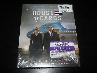 House of Cards: The Complete Third Season (Blu-ray Disc, 2015, 4-Disc Set) New