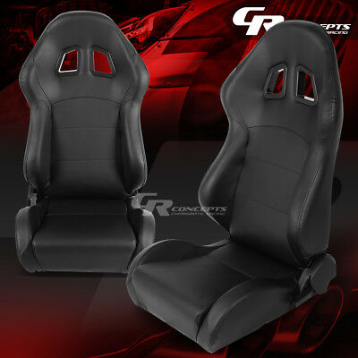 2 X Ajustable Pvc Leather Xl-14 High-Head Black Bucket Racing Seats Left&right