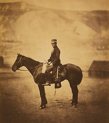 "1855 War Soldier on Horse, Military, Antique decor, Sepia, photo, 8""x10"" print"