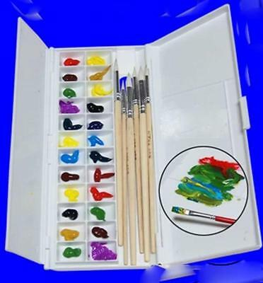 Professional Fold Filp Watercolor Palette Artist Painting Box 24 Wells