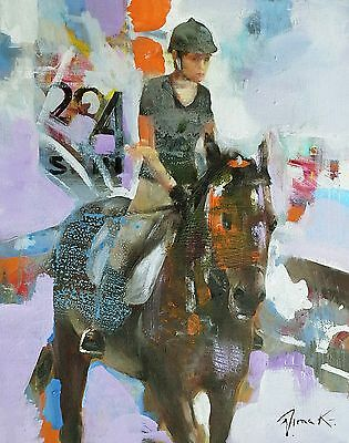 DIMA K original oil painting GIRL ON A HORSE 20x16 signed abstract impressionism