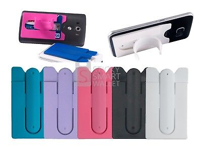2 in 1 Stick-On Wallet Card Holder For Back of Phone Universal With Stand