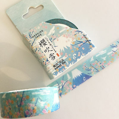 Washi Tape Kyoto Series Mt Fuji & Sakura 15Mm X 7Mtr Plan Craft Wrap Scrap