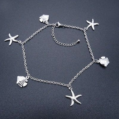 Stainless Steel Anklets Starfish & Fish Charm Ankle Bracelet 9-11 Inches SSA501
