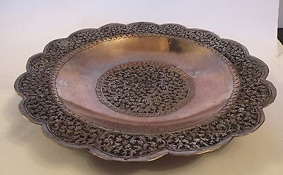 SBup OLD HEAVILY ENGRAVED COPPER & TIN WASH PLATE DISH - asian