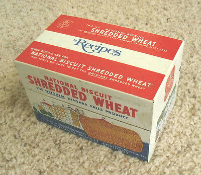 Vintage 1973 Nabisco National Biscuit Shredded Wheat Metal Recipe Box