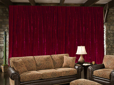 Long Large Velvet Curtain 300 x 270cm with 2m blockout + 15 Hooks New Burgundy