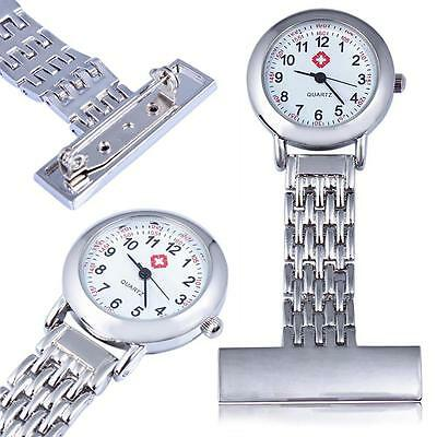 Stainless Steel Quartz Fob Watch Brand New Nurse Time Piece Watches Silver YV