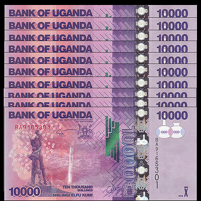 Lot 10 PCS, Uganda 10000 (10,000) Shillings, 2015(2016), P-NEW 52d, UNC