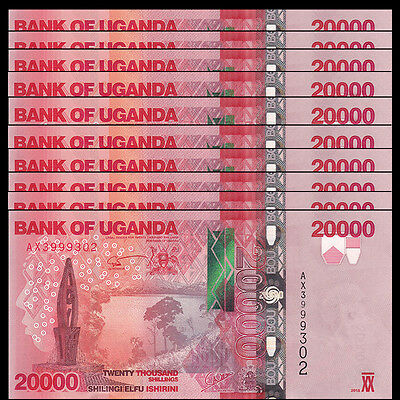 Lot 10 PCS, Uganda 20000 (20,000) Shillings, 2015(2016), P-53 NEW, UNC