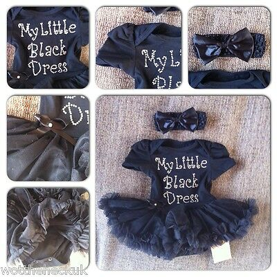 Baby Girls Little Black Dress Party Tutu Romper Headband Cute Newborn UK Stock