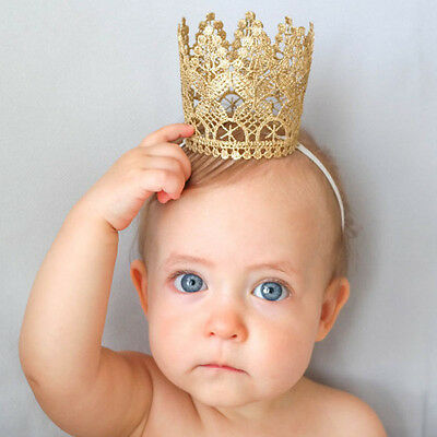 Gold Princess Crown Hairband Elastic Headband Baby Tiara Toddler Girls Hair band