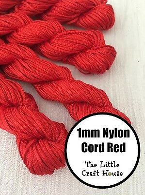 24 Metres 1mm Nylon Red Coloured Cord String Thread Macrame Knot Braided Craft