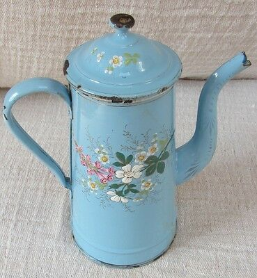 Antique vintage enamel French coffee pot