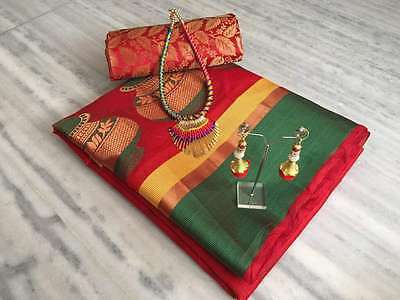 Green And Red Cotton Silk Sari With Necklace and Earings With Blouse Women Sari