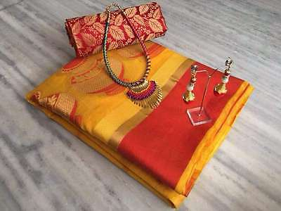 Yellow And Red Cotton Silk Sari & Necklace and Earings With Blouse Women Sari