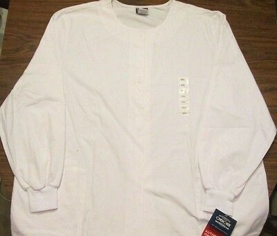 Cherokee Workwear White Lab Coat 2XL NWT 4350 Snap Front Jacket