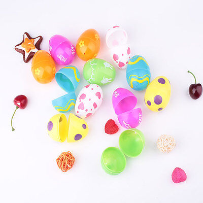 Colorful 12PCS ABS Painting Easter Eggs Crafts Kids Ornaments Decor Supply