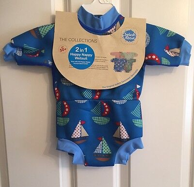 Splash About Happy Nappy Medium Baby Boys Wetsuit 3-6-8 Months Blue Boats UPF50