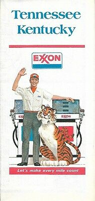 1977 EXXON OIL Road Map KENTUCKY TENNESSEE Nashville Lexington Louisville Tiger