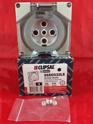CLIPSAL 56SO532 56SO532LE Socket Outlet 5 Pin Round Pins 3 Pole 32A 32 amp 500V