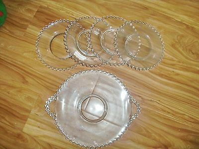 Lot Antique Matching Set Glass Salad Plates Platter Decrative Edging 50 YrsOld