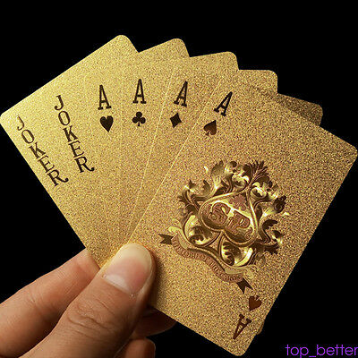 24K Gold Foil Plated Euro 100 Playing Cards Poker Art 1 Sets With Gold Box AU6