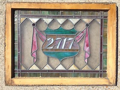 Vintage Stained Glass Transom Window Leaded Glass Wood Frame  2717 house address