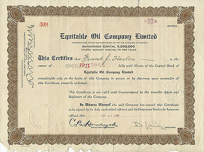CANADA, Equitable Oil Company Limited Stock Certificate 1927 Toronto