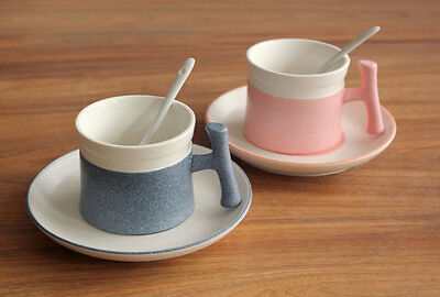 Set Of Ceramic Cappuccino Cups And Saucers With Spoons Hot Tea Coffee Latte Mugs