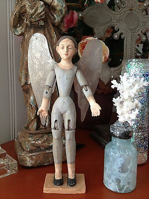 Blue Santos Angel   Christmas or any time of year... Wood withTin silver wings