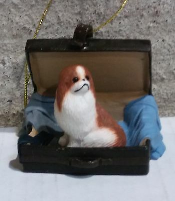 Victorian Trading Co Travel Companion Red & White Japanese Chin Ornament