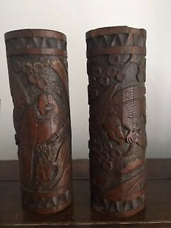 Antique  Chinese Hand Carved   Bamboo Brush Pots