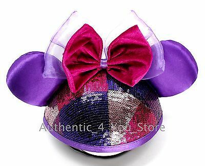 Disney Parks Purple and Pink Sequin Minnie Mouse Ear Hat Cap with Bow! 790d0c2ab2e7
