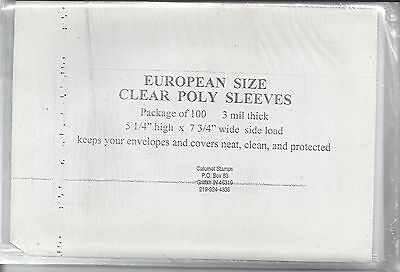 "100 New 3-mil Euro Cover Sleeves 5-1/4"" x 7-3/4"""