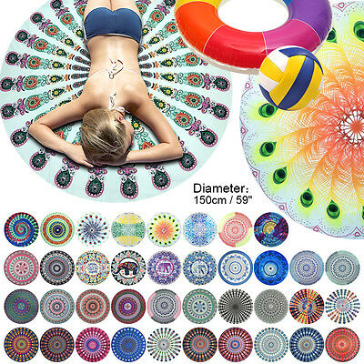 Round Beach Pareo Bohemian Hippie Mandala Throw Tapestry Picnic Cloth Yoga Mat
