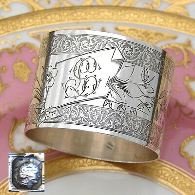 """Antique French Sterling Silver Napkin Ring, Guilloche Style, """"GL"""" Monogram"""