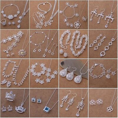 Wholesale New fashion Jewelry 925Silver Necklace Bracelet Ring Earring Sets