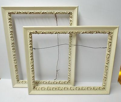 1 Shabby Gesso 16 x 13 Wood Picture Frame Vintage Old White/Cream Gold Gilding