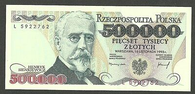 POLAND 500,000 500000 ZLOTYCH 1993, SERIES L, P-161a GEM UNC BANKNOTE