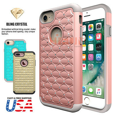 Luxury Bling Crystal Hybrid Shockproof TPU PC Hard Case Cover Fits iPhone 7 Plus