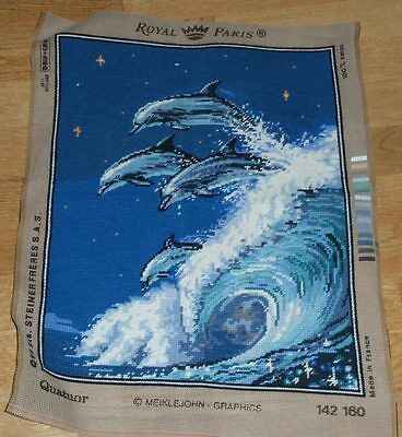 "ROYAL PARIS QUATUOR - DOLPHINS & WAVES COMPLETED TAPESTRY approx 15"" x 19"""