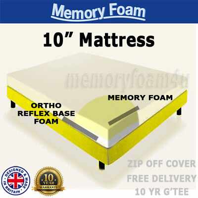 "Memory Foam Orthopaedic Mattress Double King 3Ft 4Ft 5Ft Depths 6"" 8"" 10"" 12"""