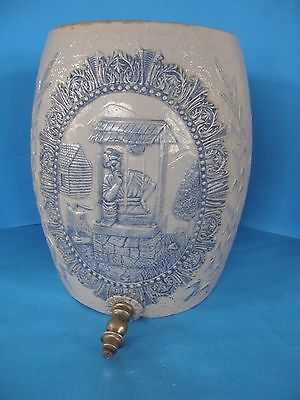 Antique Blue Floral Design Decorated Stoneware Ice Water Cooler With Spout