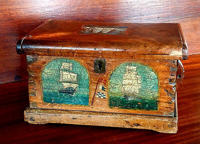 Early Antique HAND DECORATED SAILOR'S DITTY BOX  English or Canadian, Circa 1800