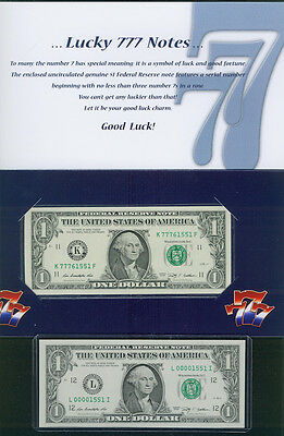 $1 LUCKY 7's AND a $1 LOW MATCHING 4 DIGIT NOTE: 7776xxxx + 0000xxxx - 2 NOTES!