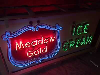 Meadow Gold Ice Cream Dairy Double Sided Vintage Rare Old 3 Color Neon Sign Soda