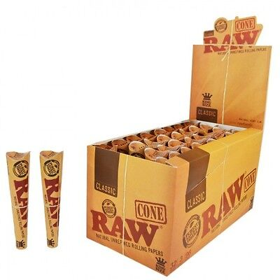 Full Box 32x Packs ( RAW Classic Pre-Rolled Cones King Size ) 3x Cones Per Pack