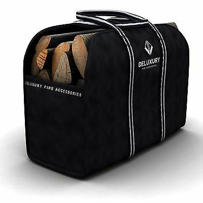 NEW Firewood Carrier - Max Load Canvas Log Bag by Deluxury, Black